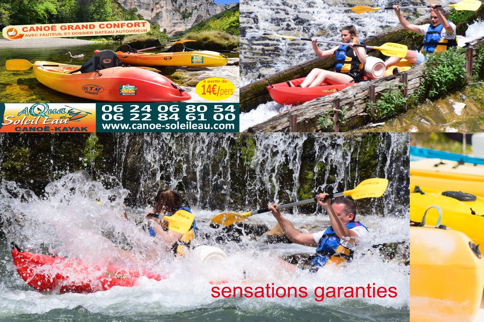 émotions garanties en canoé kayak sur le Tarn au coeur des Gorges du Tarn avec Aqua Soleil Eau Canoë Aveyron Lozère