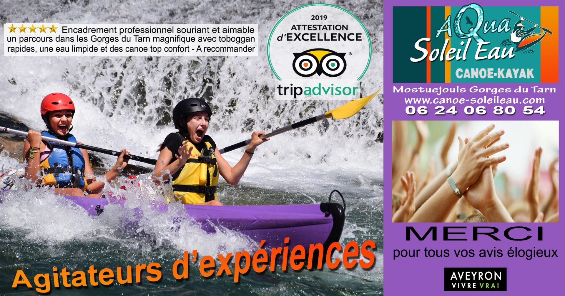 Remerciements d'Aqua Soleil Eau Canoe élu activités de loisirs touristiques de qualité dans les Gorges du Tarn avec Certificat d'Excellence Tripadvisor